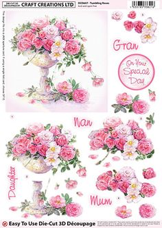 Craft Creations A4 die cut decoupage - Tumbling Roses