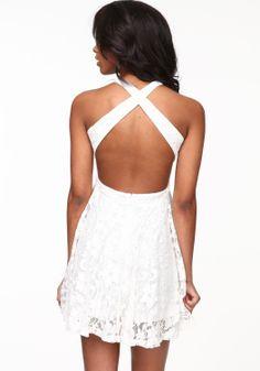 White Criss Cross Lace Dress