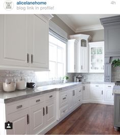 nice awesome Gray and White Kitchen Design - Transitional - Kitchen