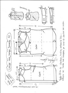 Esquema de modelagem de camisa sem manga com abertura nas costas tamanho 42.