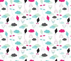 Colorful fabrics digitally printed by Spoonflower - Geometric pastel colors kite clouds illustration pattern Aztec Pattern Wallpaper, Cloud Illustration, Kite, Pastel Colors, Fabric Patterns, Surface Design, Custom Fabric, Spoonflower, Craft Projects