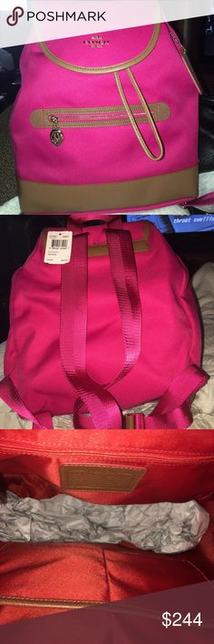 NWT Coach Tom Sawyer Backpack F37240 NET Awesome Tom Sawyer backpack in hot pink and tan leather trim. It has 1 zip and 2 slip pockets inside, silver hardware and leather drawstring. It has a magnetic snap to close the bag has adjustable straps and measures 12.75 X 11.25 X 4 Coach Bags Backpacks