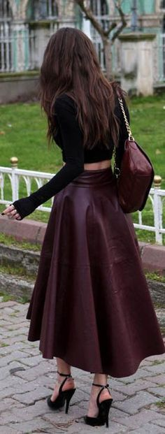 Long sleeve Crop top and Classic High Waist Leather Burgundy Skirt | Need this Skirt !