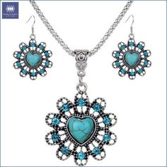Flower Turquoise Pendant Necklace & Earrings Set