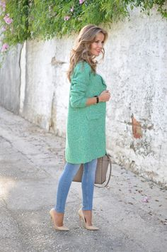 Green coat, jimmy Choo heels and Michael Kors bag