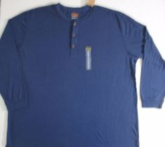 The Foundry Supply Men T Shirt 4XLT Blue Solid Henley Long Sleeve Cotton 1700F #TheFoundrySupply #Henley