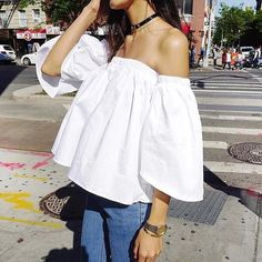 FLARED SLEEVES Off the Shoulders White Shirt Women by UhLaLaLand