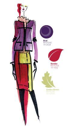 Yoana Baraschi - PANTONE Color Acai, Samba & Linden Green - Pantone Fashion Color Report, Fall 2013