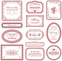 Free European Style Love/Valentines Labels with Patterned Border Vector Vector Free Download, Free Vector Graphics, Free Vector Art, Free Frames And Borders, Calligraphy Borders, Silly Love Songs, Self Branding, Label Templates, Graphic Design Art