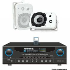 """Pyle Stereo Receiver and Marine Speaker Package - PT4601AIU 800 Watts Stereo Receiver AM-FM Tuner/USB/SD/Ipod Docking Station & Subwoofer Control - PDWR40W 5.25"""" Indoor/Outdoor Waterproof Speakers (White) (Pair) by Pyle. $156.99. Pyle audio system package with a stereo receiver and a pair of marine waterproof speakers. Product Dimensions: PT4601AIU - N/A; PDWR40W - 6.25''(W)x 9.25''(H) x 5.75''(D)"""