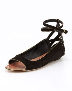 Hanne Strappy Peep-Toe Sandal, Black by Derek Lam at Neiman Marcus.