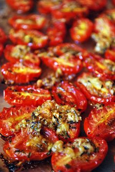 "Roasted grape tomatoes - cut in half, toss with lots of olive oil, salt and pepper, and lots of sliced garlic. I don't add any herbs, like the linked recipe, but I'm sure it would be great! Try not to crowd them on the cookie sheet - the garlic gets crispy, and the tomatoes are half-way to ""raisin"" texture! To die for!!!!"