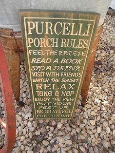 Customized Porch Deck Patio Rules Sign Wall by Timberlinewoodworks, $53.50