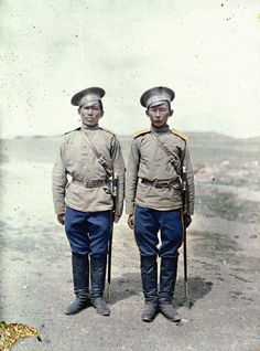 Two Cossack soldiers in Urga, Mongolia, 1913. Photo credit: Stefan Passe, courtesy of Albert Kahn Archive