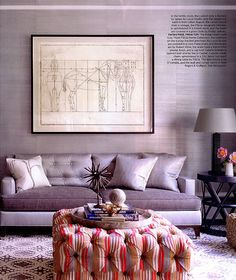 Featured in Elle Decor, designer Tom Filicia showcased Glam Grass 5219 African Diamond in the family room of a Connecticut home.