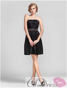 Classic A-line Strapless Mini-length Taffeta Bridesmaid Dress