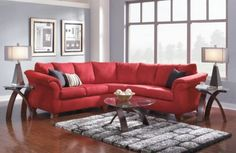 Make your living room pop with a red sectional!
