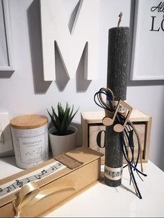 #πασχαλινη #λαμπαδα #νοτες #αρωματικοκερι #handmade #σετκουτι N21, Easter Ideas, Candles, Gifts, Inspiration, Biblical Inspiration, Presents, Candy, Favors