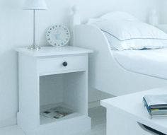 Maine White Bedside Table