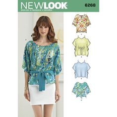 misses' flowy tunics and tops are perfect any day. top length has a cold   shoulder, batwing short sleeves and option of tie at waist. tunic length has three quarter sleeves and option of trim at hemline   or tie at waist.  <p>