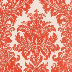 """Walls Republic Traditional 33' x 20.8"""" Grand Floral Damask Wallpaper Color: White / Red"""