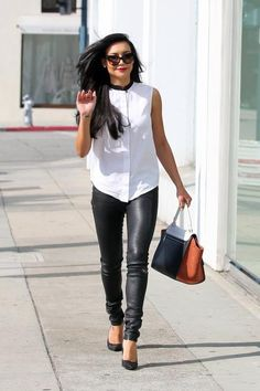 Naya Rivera in a crisp white blouse, leather leggings, and Pigalles. #Louboutins