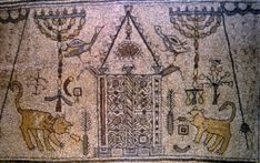 Many of the symbols included in the uppermost mosaic panel reaffirmed the Jewish nature of the synagogue at Beth Alpha: the Ark of the Covenant at the center (aron kodesh), eternal light (ner tamid), two seven-branched candelabra (menorot; plural, menorah), palm frond (lulav), citron (etrog), and an incense shovel (mahta). From these items it takes the type name of a synagogue panel.