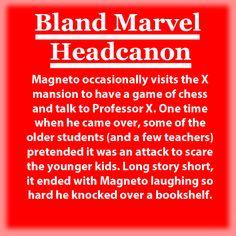 Bland Marvel Headcanon. X-Men. Erik Lensherr (Magneto), Charles Xavier (Professor X), Logan  (Wolverine), etc.