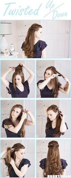 Twisted Half Up Half Down Hair Tutorial...I always loved this loo but could never get it to look right.
