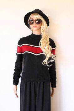 Whos Billie sweater KNIT Jumper INDIE BOYFRIEND warm RED black white WOOL stripe
