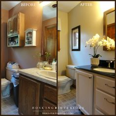 Master Bath gets a facelift for buyers with a painted cabinet, new hardware, granite top from Lowes, and a new wall color to coordinate with the lino flooring.