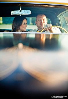 Oceanside engagement shoot of cool couple Sara and Nathan, featuring a vintage Cadillac. Prom Pictures Couples, Prom Couples, Prom Photos, Prom Pics, Grad Pictures, Couple Pictures, Car Engagement Photos, Engagement Shoots, Engagement Ideas