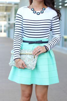 navy white striped shirt / aqua a-line skirt / navy bow belt / nude flats / glittery aqua and pink clutch