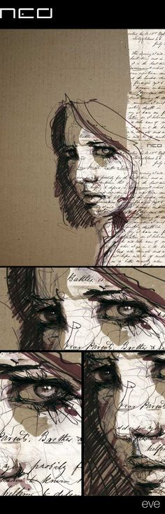 Eve By Florian Nicolle Via Behance Mixed Media Style Illustration Amp Design Cool Drawings, Drawing Sketches, Drawing Step, Drawing Faces, Drawing Reference, Drawing Lips, Portrait Sketches, Drawing Ideas, Sketching