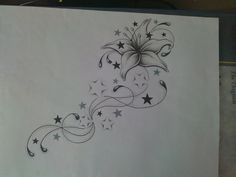 TATTOO DESIGN i like this idea, with my exsiting cupcake at the top, with nice swirls flowing up to it with smaller cupcakes, and reverse shaded cupcakes instead of stars. wouldn't want the swirls to have the stamen looking bulbs on the end though
