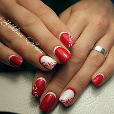 Двухцветные ногти, Двухцветный яркий маникюр, Дизайн ногтей обратный френч, Дизайн ногтей с узором, Идеи двухцветного маникюра, Красно-белый маникюр, Красный обратный френч, Модный маникюр 2017