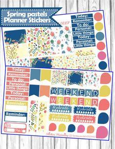 Spring Pastels Planner Stickers for Erin Condren, Happy Planner, Filofax, kikki.K., etc.