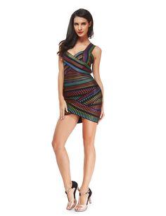 rainbow bodycon bandage dress