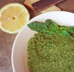 Pesto with Kale, Basil, and Walnuts  {For stuffing portobello mushrooms with + on zucchini spaghetti}