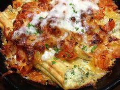 Goat Cheese and Spinach Stuffed Manicotti  w/ Fresh Tomato Basil Sauce