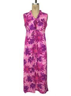 6f353e1e43e vintage 1970s floral Hawaiian dress   pink purple   acrylic   maxi dress   women s  vintage dress   tag size 10