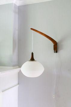 Vintage Mid Century Teak Danish Modern Wall Mount Swivel Hanging Pendant Lamp