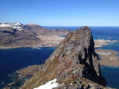 From the mountain top you can see the outlines of a Viking settelement. Easy hike about 2h both ways. Volandstinden is based on the Lofoten island Flakstad.