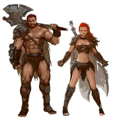 Male and Female Barbarians - Pathfinder PFRPG DND D&D 3.5 5th ed d20 fantasy