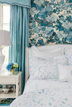 """Beach Blue """"Boone"""" Painterly Bedding from Biscuit Home // Schumacher Chiang Mai Dragon Wallpaper Bedroom"""