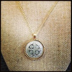 MMLJ Necklace - Available in gold trimmed with silver or silver trimmed with gold. This long necklace is a beautiful addition to any outfit featuring a hand carved Matthew, Mark, Luke, and John pendant - $68.00