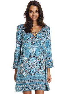 Kjole turkis mønstret 117M-985 Odyssey Short Dress - misty turquoise