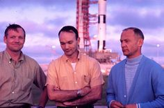 """""""Neil Armstrong, Mike Collins and Buzz Aldrin with the Saturn V rocket that would take them to the moon in the background, Cape Canaveral, Florida, July 1969. """""""