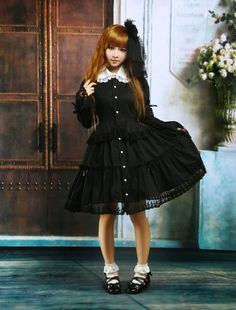 Cotton Black Long Sleeves Bottons Lace Cotton Gothic Lolita Dress