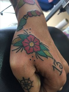 Old school flower tattoo. Sailor Jerry style. For further inquiries kindly contact Yus at exotic@exotictattoopiercing.com.